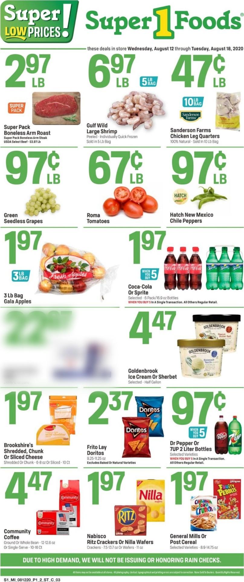 Super 1 Foods Weekly Ad Circular - valid 08/12-08/18/2020