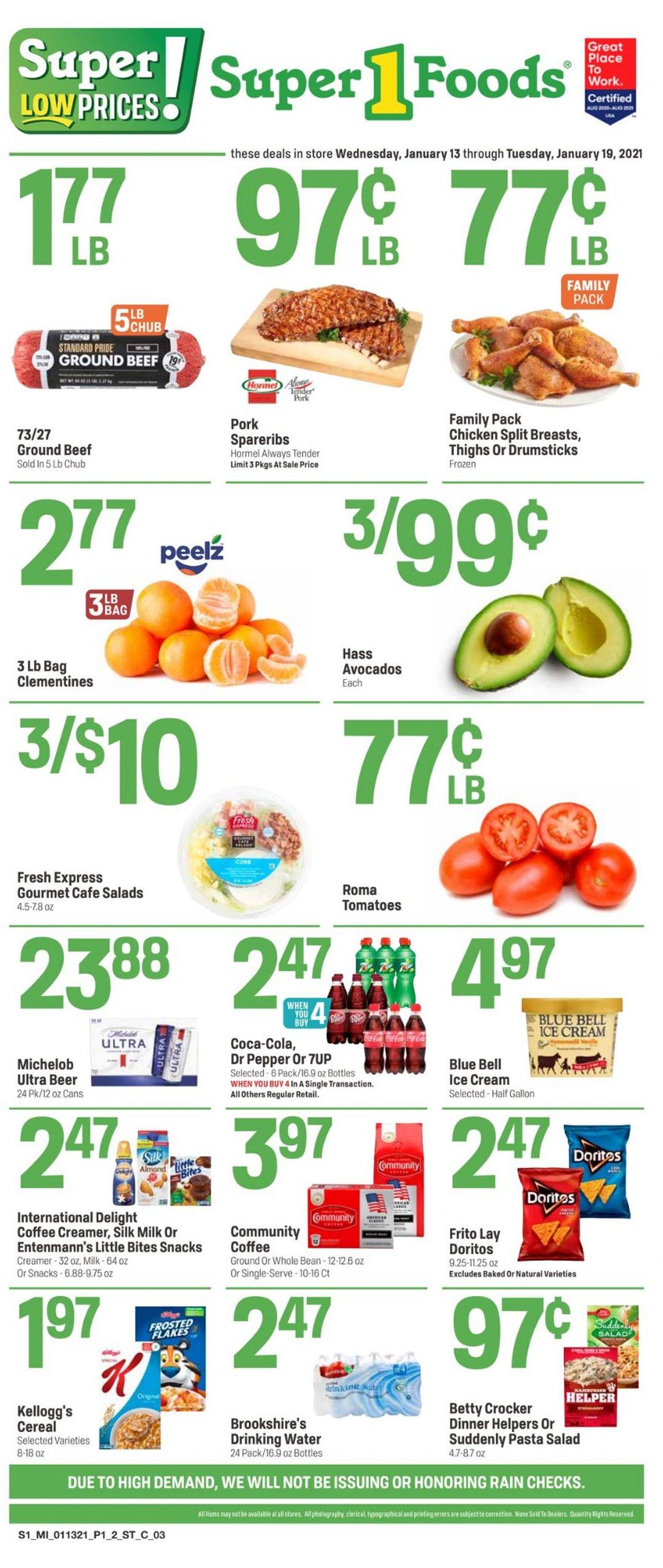 Super 1 Foods Weekly Ad Circular - valid 01/13-01/19/2021