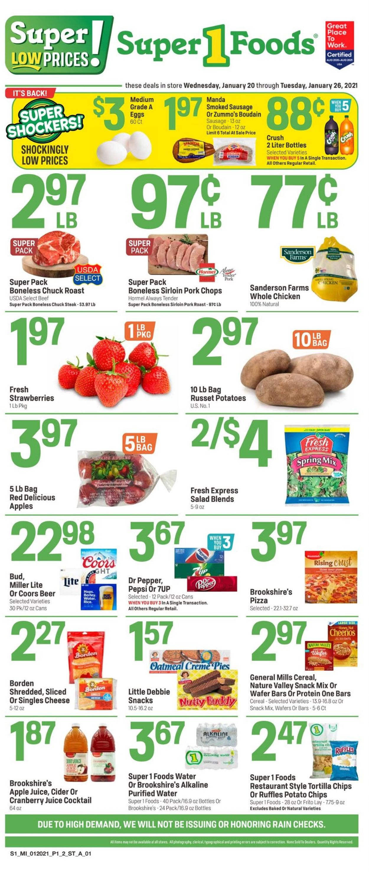 Super 1 Foods Weekly Ad Circular - valid 01/20-01/26/2021