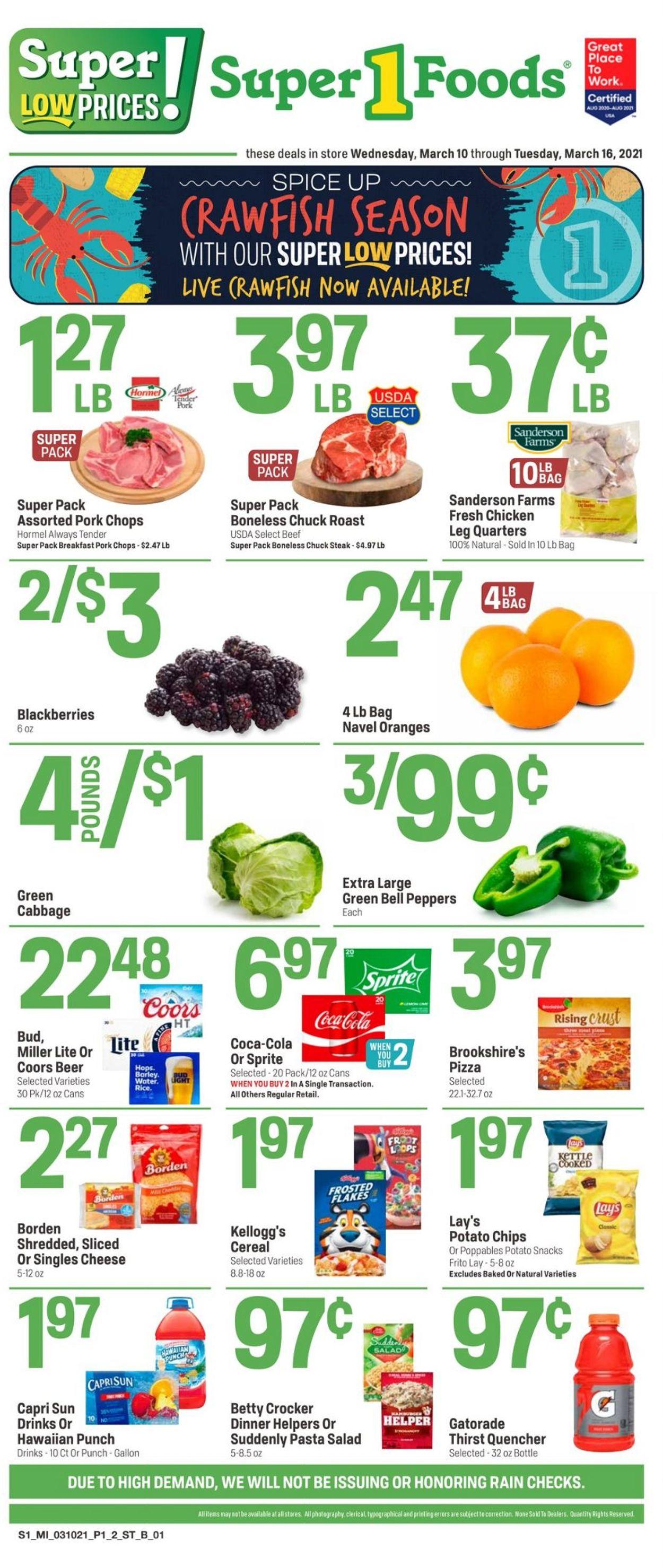 Super 1 Foods Weekly Ad Circular - valid 03/10-03/16/2021