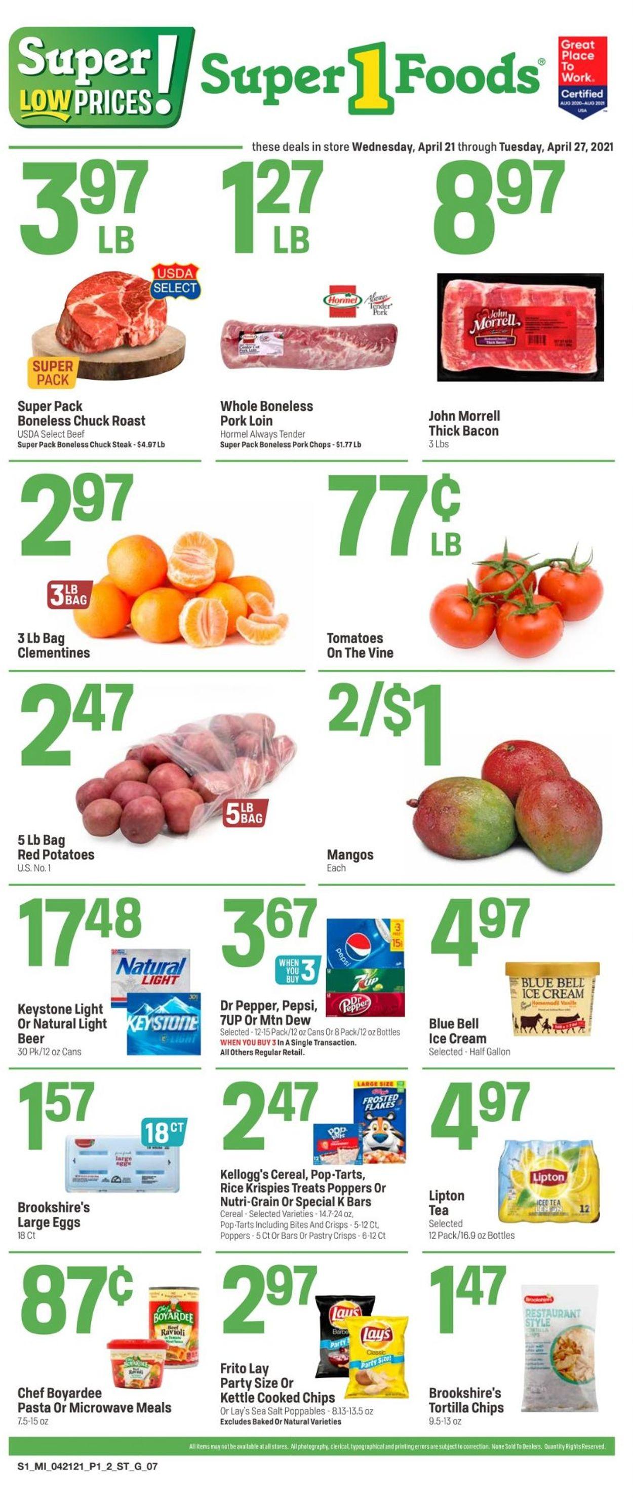 Super 1 Foods Weekly Ad Circular - valid 04/21-04/27/2021