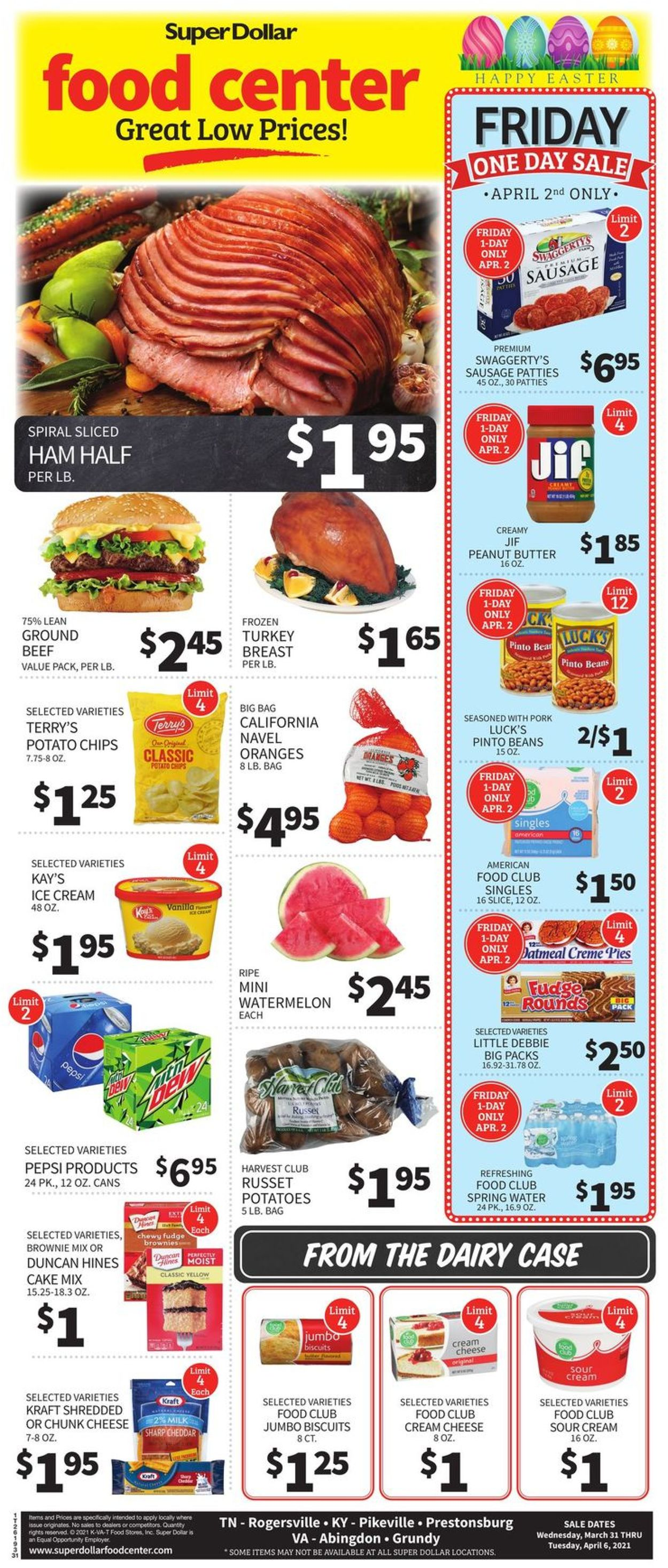 Super Dollar Food Center Easter 2021 ad Weekly Ad Circular - valid 03/31-04/06/2021