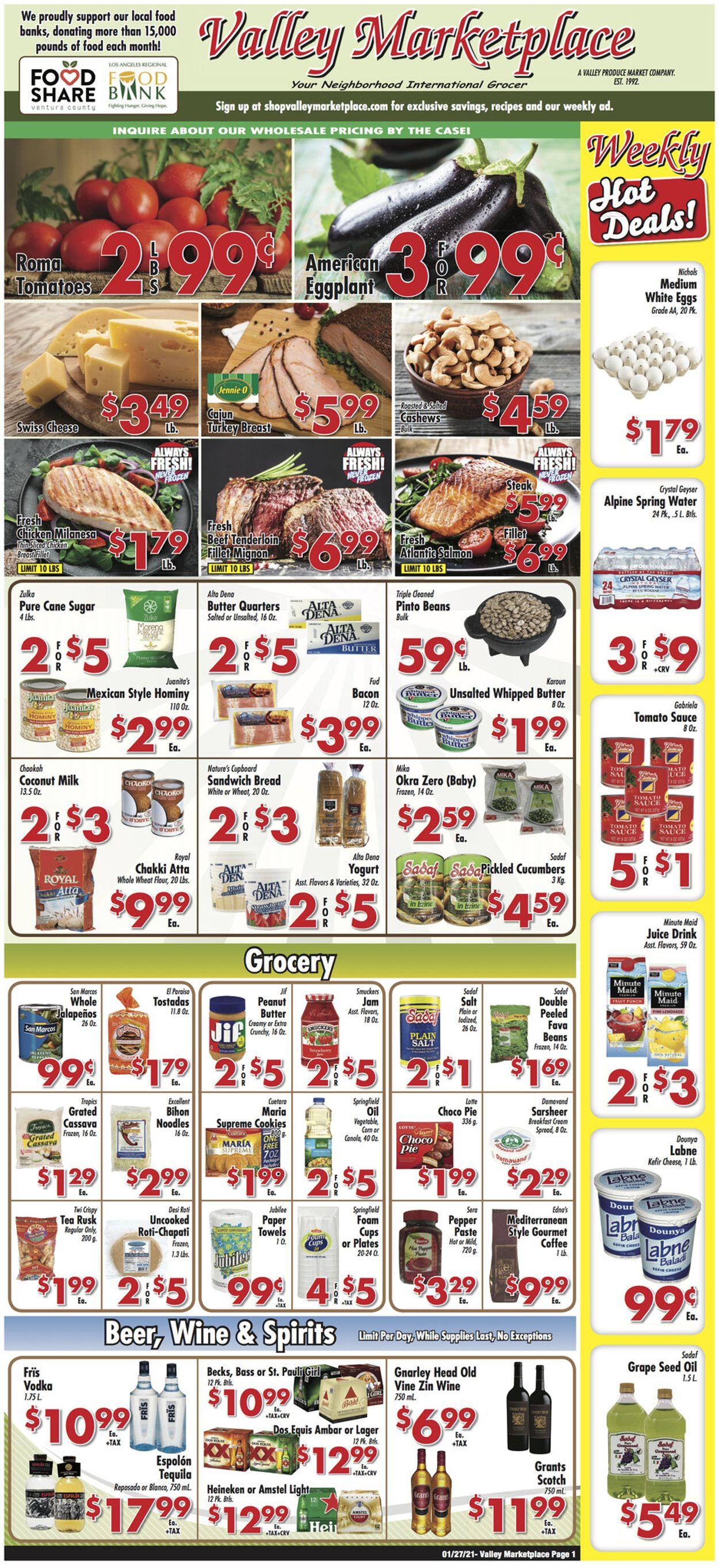 Valley Marketplace Weekly Ad Circular - valid 01/27-02/02/2021