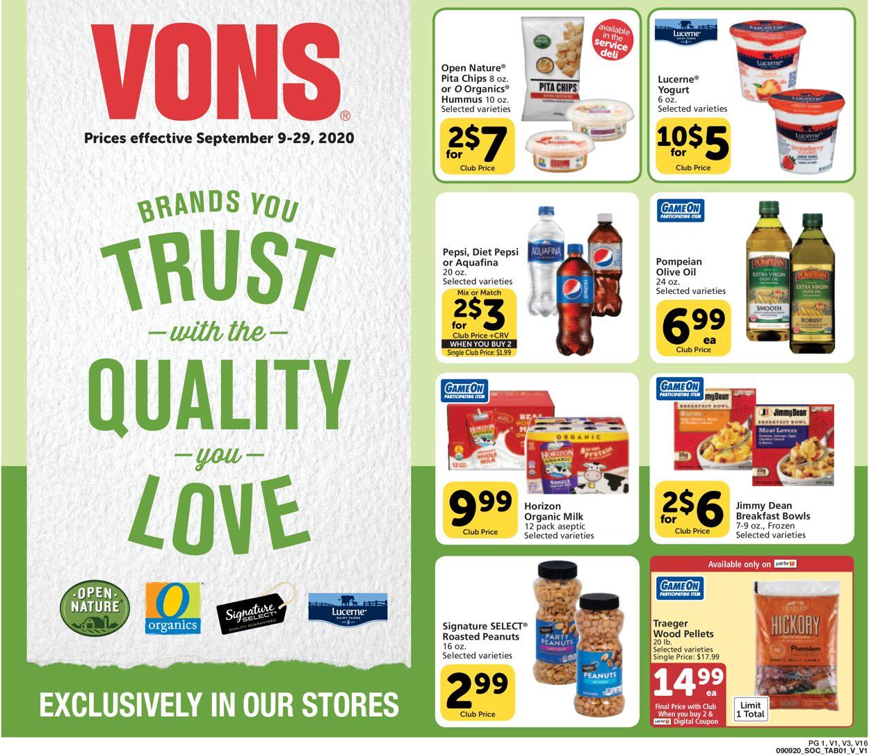 Vons Weekly Ad Circular - valid 09/09-09/29/2020