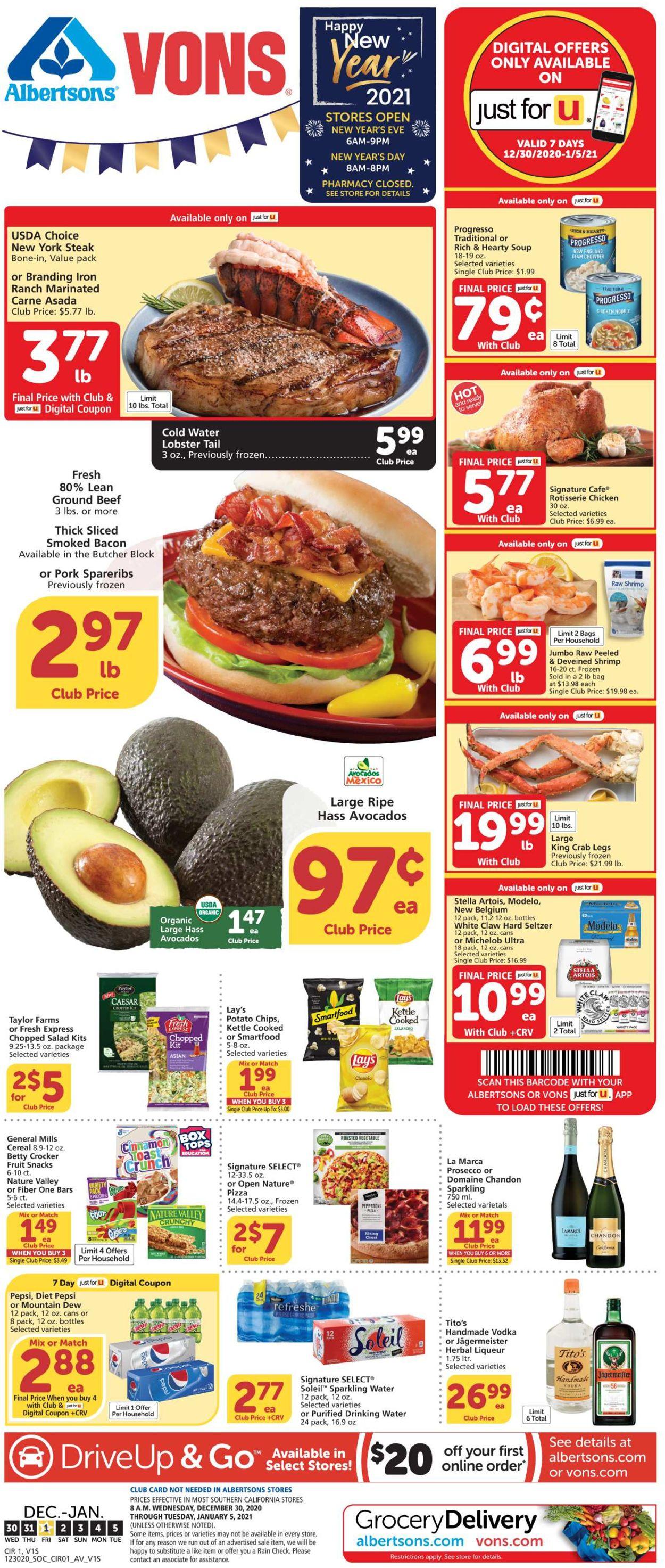 Vons Weekly Ad Circular - valid 12/30-01/05/2021