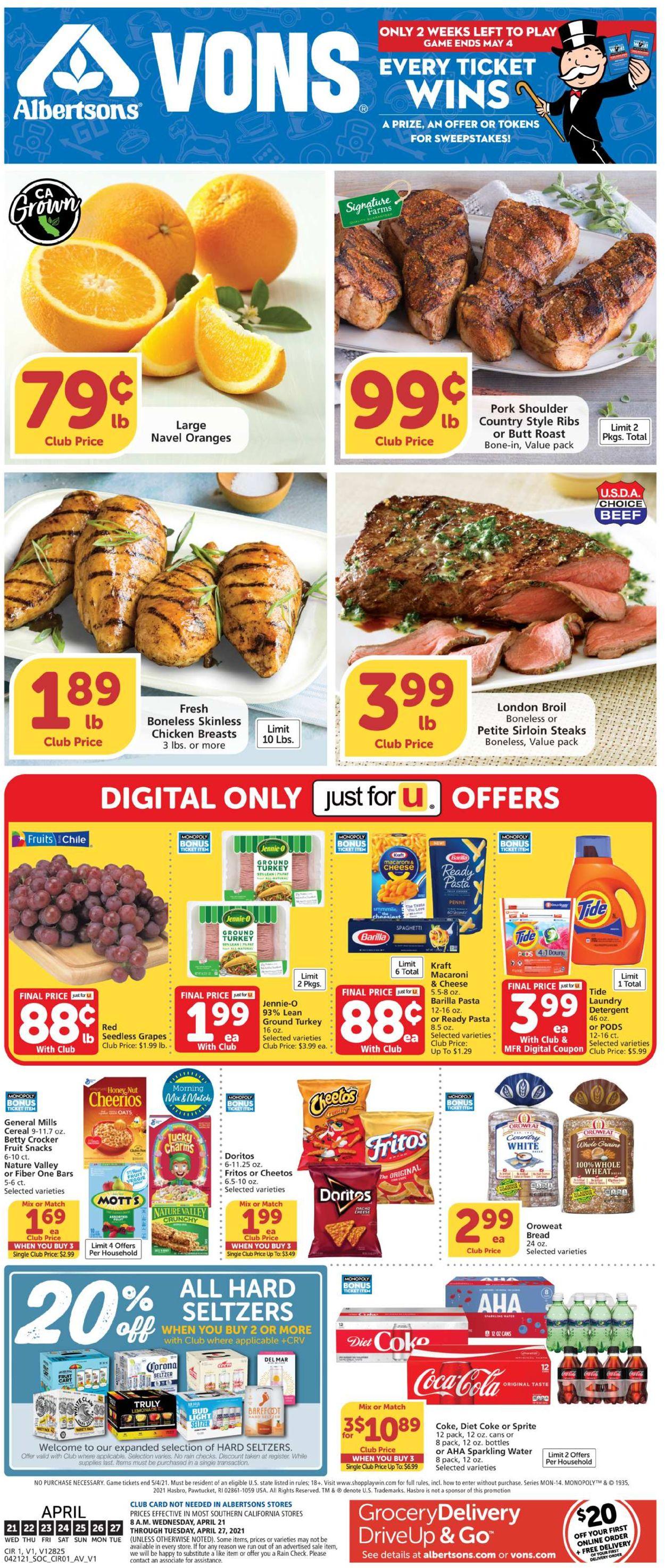 Vons Weekly Ad Circular - valid 04/21-04/27/2021