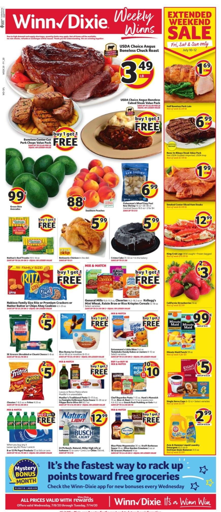 Winn Dixie Weekly Ad Circular - valid 07/08-07/14/2020