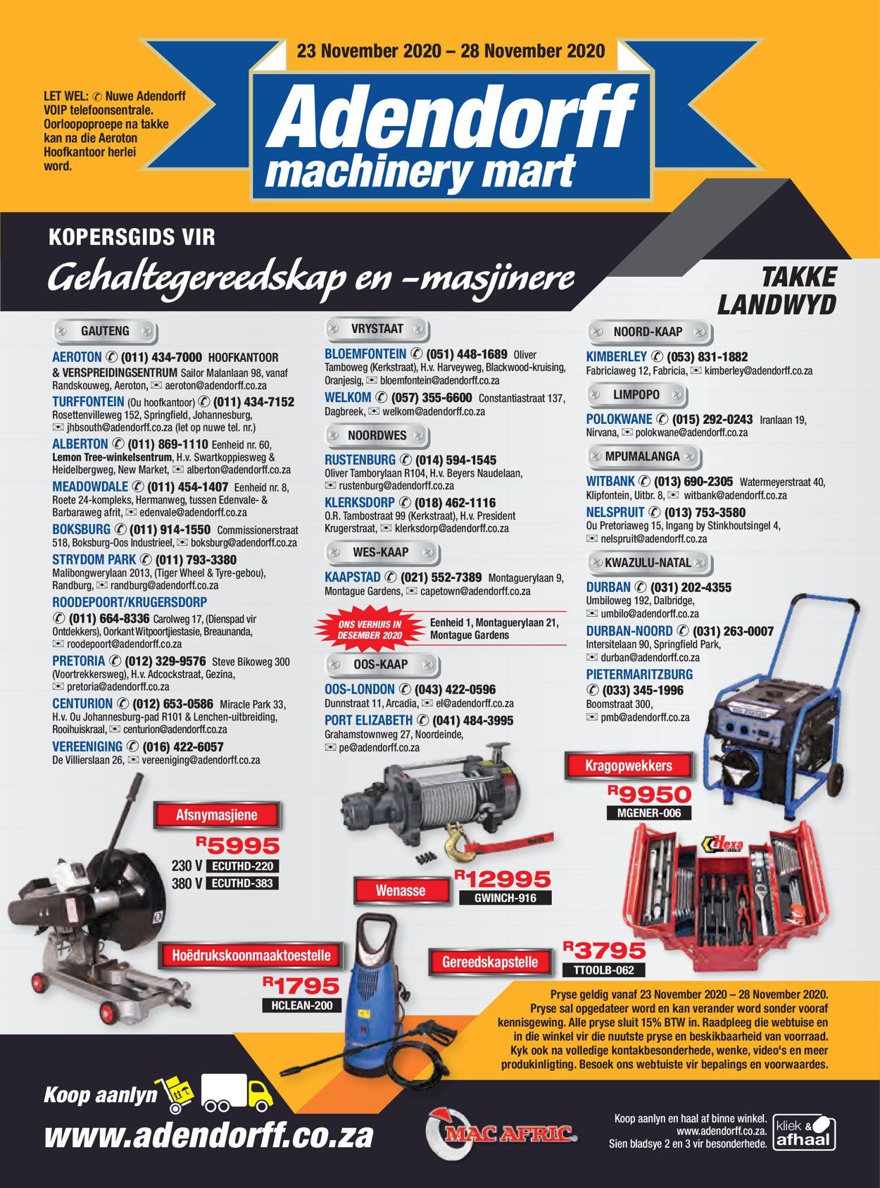 Adendorff Machinery Mart Black Friday 2020 Catalogue - 2020/11/23-2020/11/28