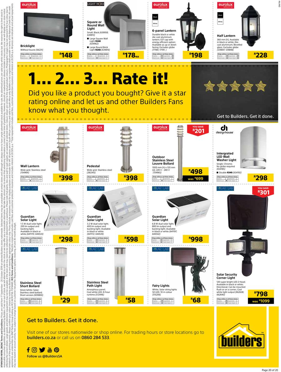 Builders Warehouse Catalogue - 2019/09/17-2019/10/20 (Page 20)