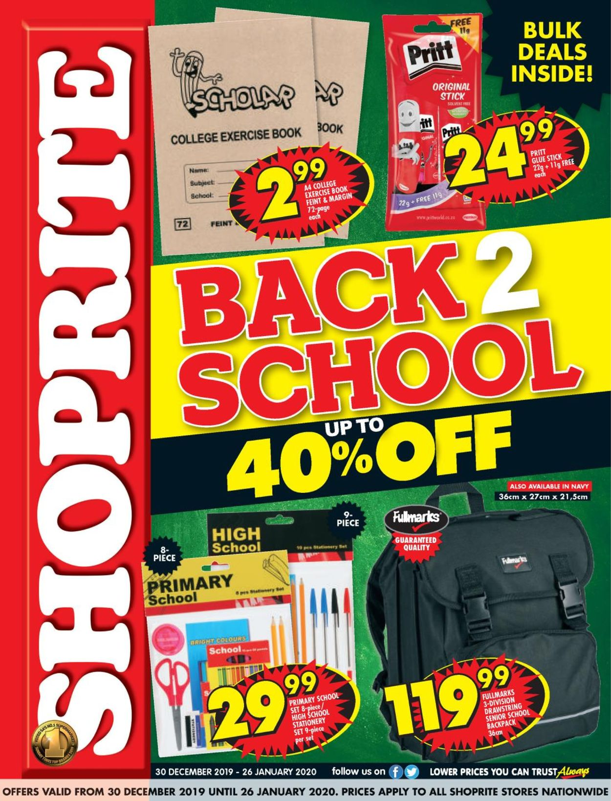 Shoprite Back 2 School Catalogue - 2019/12/30-2020/01/26