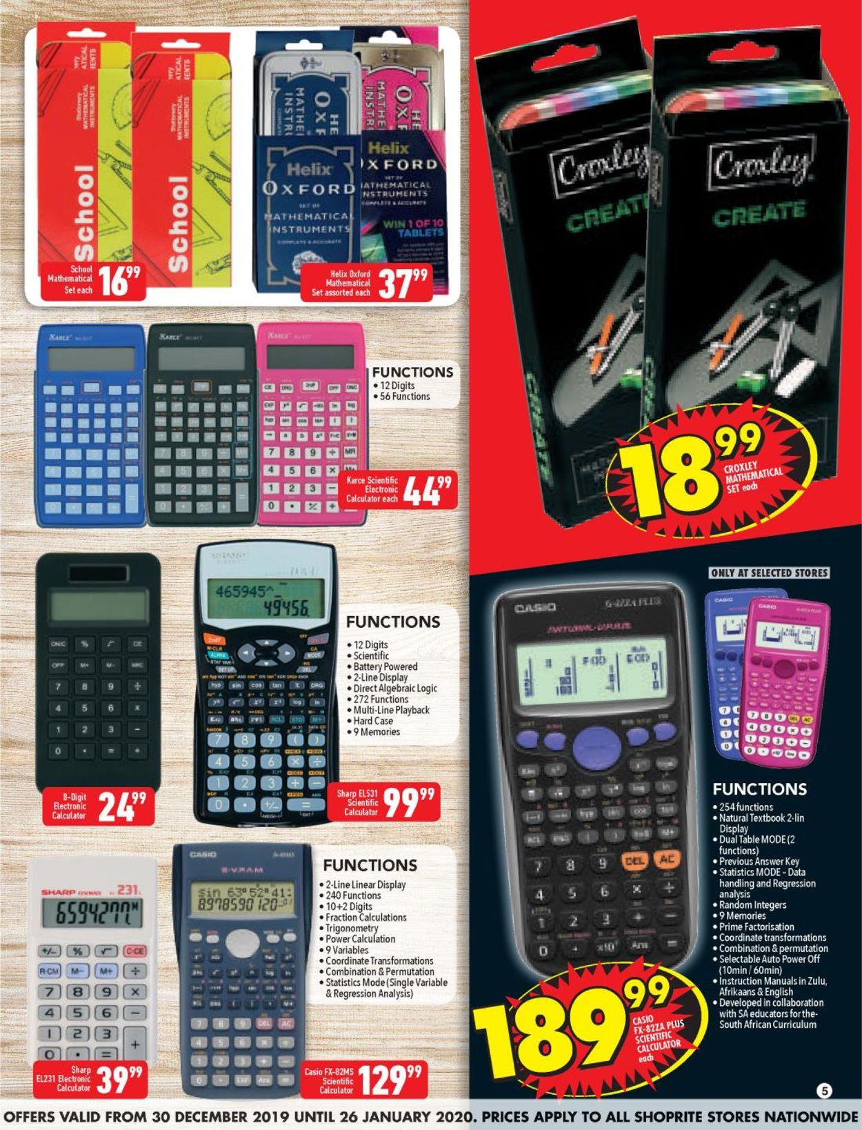 Shoprite Back 2 School Catalogue - 2019/12/30-2020/01/26 (Page 5)